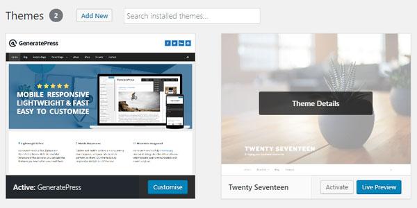 How to delete WordPress themes.