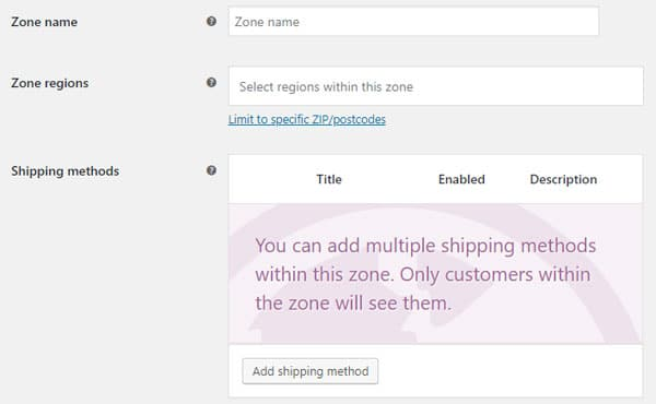 WooCommerce shipping zones.