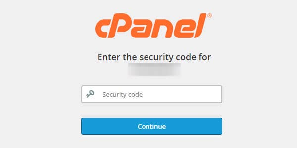 Using 2FA for cPanel.