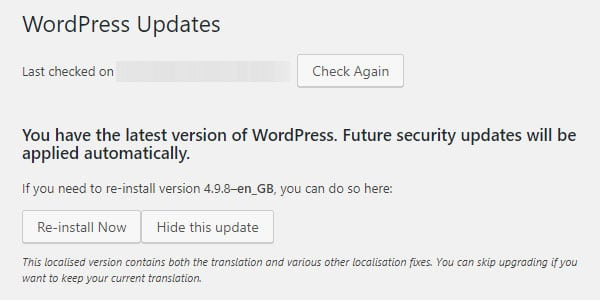 Updating WordPress.